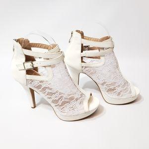 Lov Mark Zahara White Lace Heels Buckle Zipper